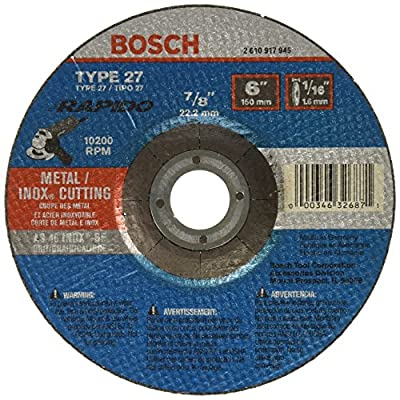 Bosch TCW27S600 6 In. 1/16 In. 7/8 In. Arbor Type 27A (ISO 42) 46 Grit Rapido Fast Metal/Stainless Cutting Abrasive Wheel