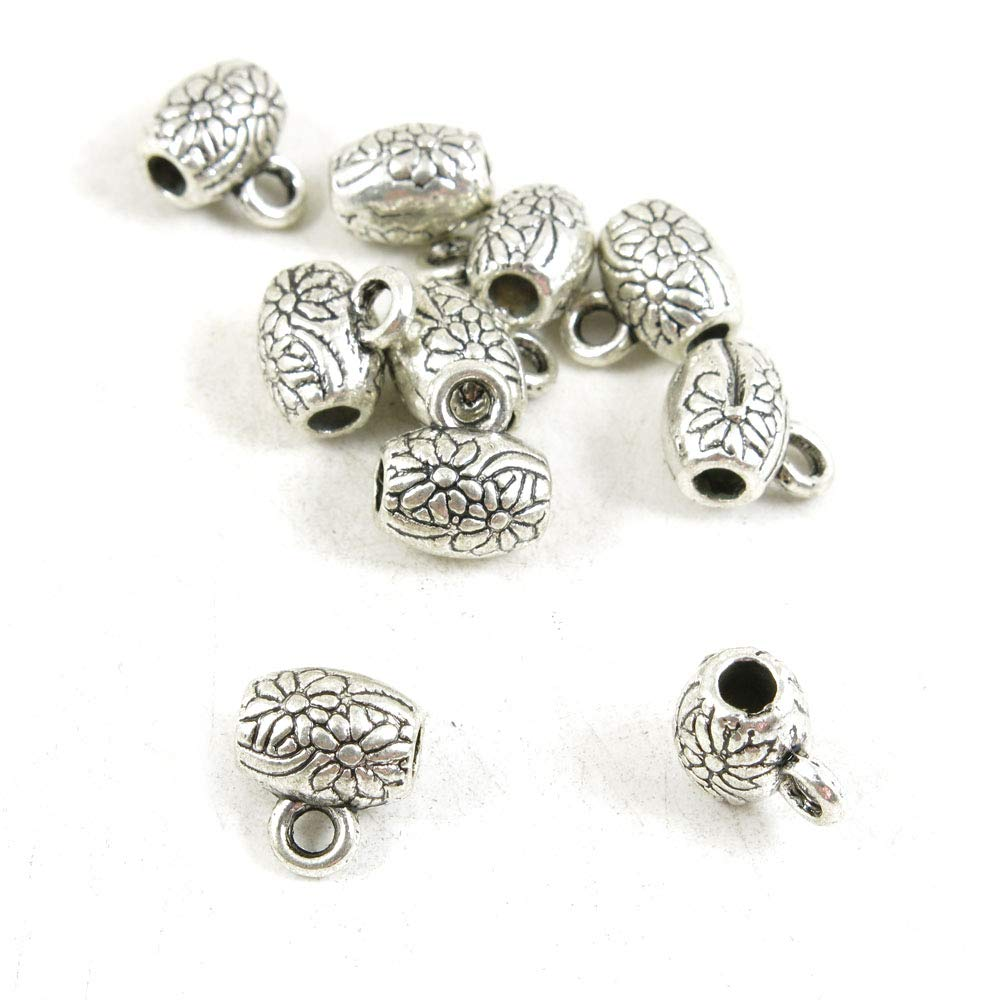 1040 pcs Antique Silver Plated Jewelry Charms Findings Craft Making Vintage Beading B2NB3L Flower Bead Bail Cord Ends