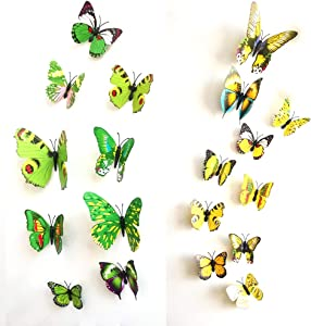 Letitia Matthew Mixed 24PCS 3D Butterfly Wall Decor Stickers Colorful Art Decorations Kids Bedoom, Magnetic Refrigerator Sticker Green & Yellow
