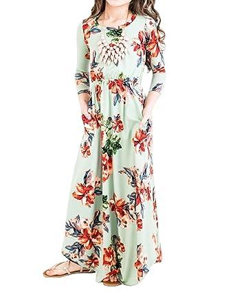 Amazon Syktkmx Girls Floral Long Sleeve Empire Waist Spring