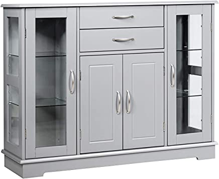 Amazon Com Giantex Sideboard Buffet Server Storage Cabinet W 2 Drawers 3 Cabinets And Glass Doors For Kitchen Dining Room Furniture Cupboard Console Table Gray Buffets Sideboards