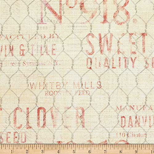 Springs Creative Products Susan Winget Farmhouse Rooster Chicken Wire Basketweave Red Fabric by the Yard