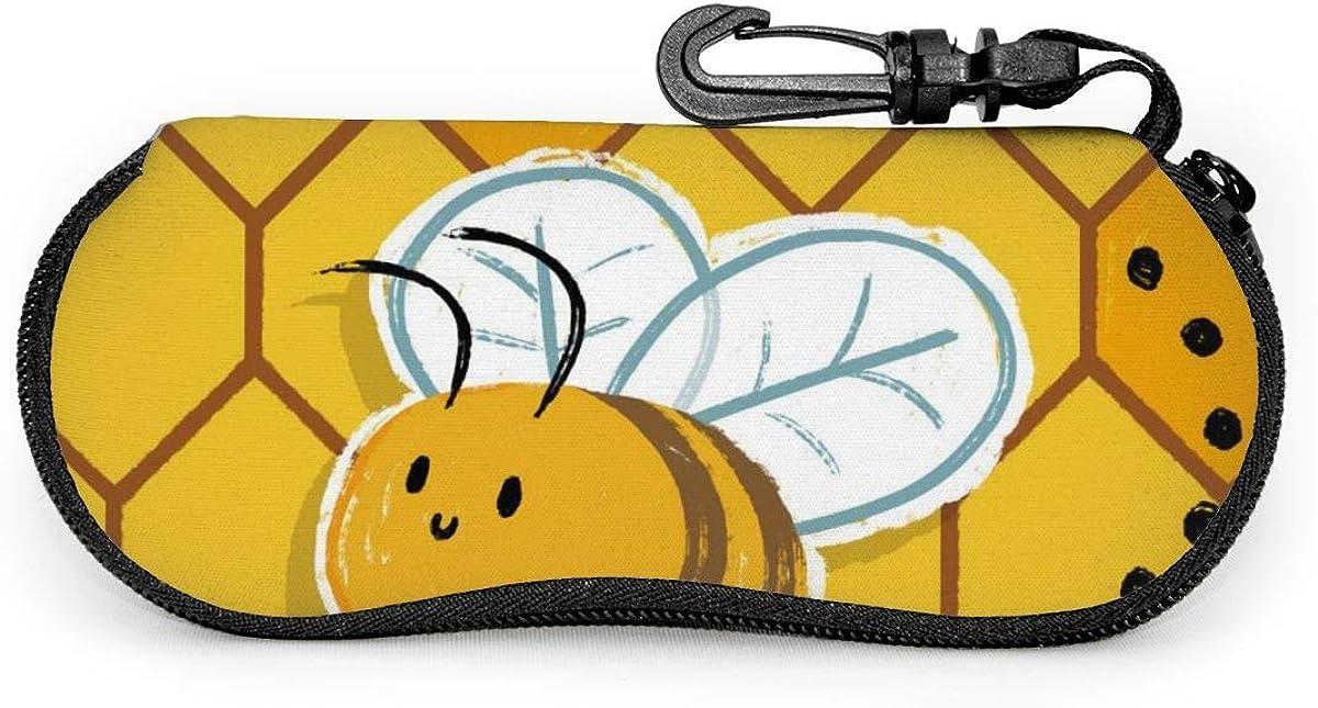 Carneg Gafas de sol portátiles con estampado de abeja Erson con hebilla de bloqueo Bolso suave Funda de gafas con cremallera de tela de buceo ultraligera GLC-126