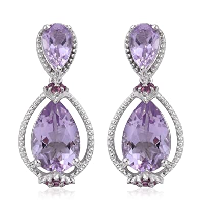 diamond trillion purple goddess sterling gold france de earrings silver with dna plated and rose dangle pink