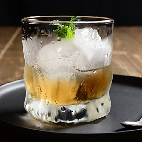 Forma de onda wiskey vidrio claro ideal para enfriar bebidas jugo de leche café agua licor