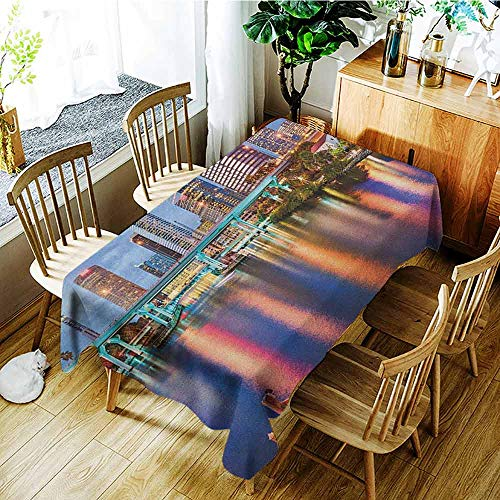 XXANS Waterproof Table Cover,City,Hillsborough River Tampa Florida USA Downtown Idyllic Evening at Business District,Party Decorations Table Cover Cloth,W60x120L Multicolor