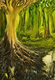 """Woods and roots Oil painting""""The World Inside"""" by Farnaz Tahbaz, Wall decoration picture, Artwork rolled in a hard tube Picture"""