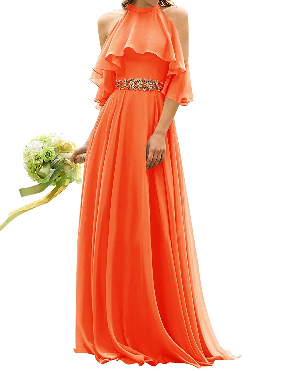 orange Uther Long Bridesmaid Dress Cold Shoulder Beaded Ruffle Sleeves Wedding Party Dresses