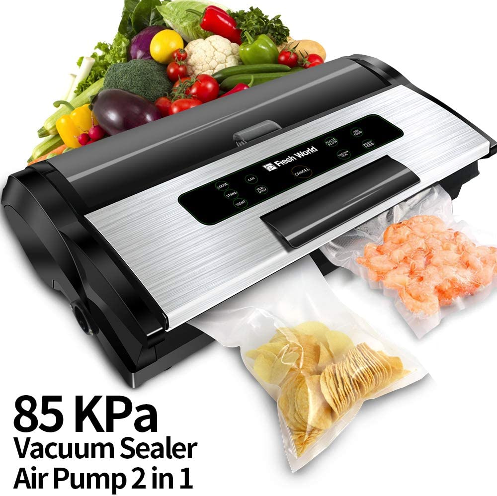 Automatic Vacuum Sealer Machine, Food Sealers Vacuum Packing Machine, ETL Listed Commercial Grade Vacuum Sealer with Inflation Function, Starter Kit, Built-in Cutter, Stainless Steel Vacuum Sealer
