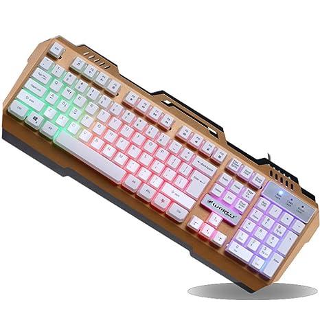 Teclado Teclado mecánico para Juegos, teclado retroiluminado por LED, diseño ergonómico y Resistente al