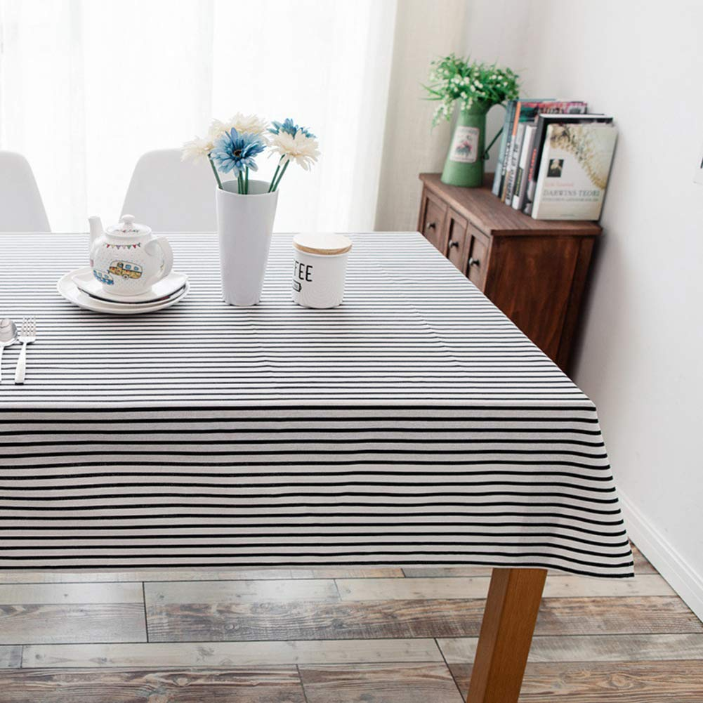 nero 130x180cm(51x71inch) JLYZB Stripes Tablecloth, Indoor Outdoor Table Linens Burlap Rectangular Simple Picnic Tea Table Cover for Kitchen Dining Tabletop-blu 130x180cm(51x71inch)