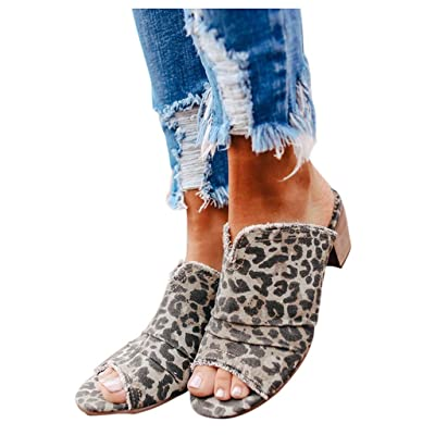 HIRIRI Women's Peep Toe Platform Backless Low Chunky Heel Sandals Ladies Vintage Leopard High Heel Shoes: Clothing