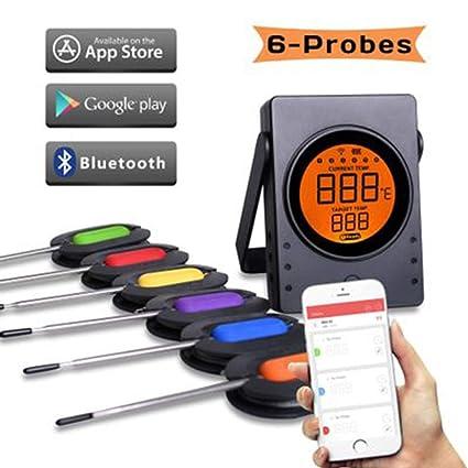 Amazon.com: FJJ termómetro de carne Bluetooth, termómetro ...