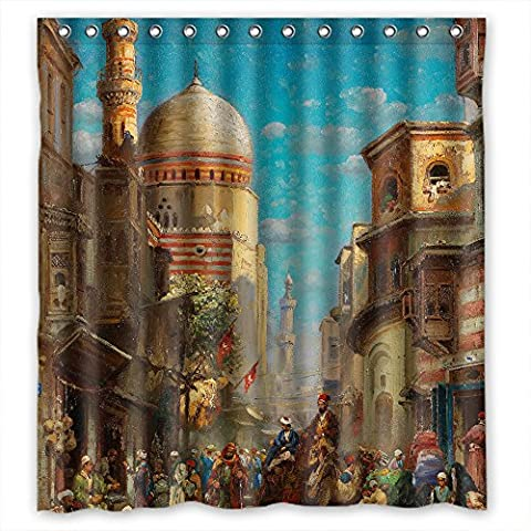 MaSoyy Beautiful Scenery Landscape Painting Shower Curtains Polyester Best For Boys Kids Girls Kids Bf. Rust Proof Width X Height / 72 X 72 Inches / W H 180 By 180 (The Nanny With The Skull)