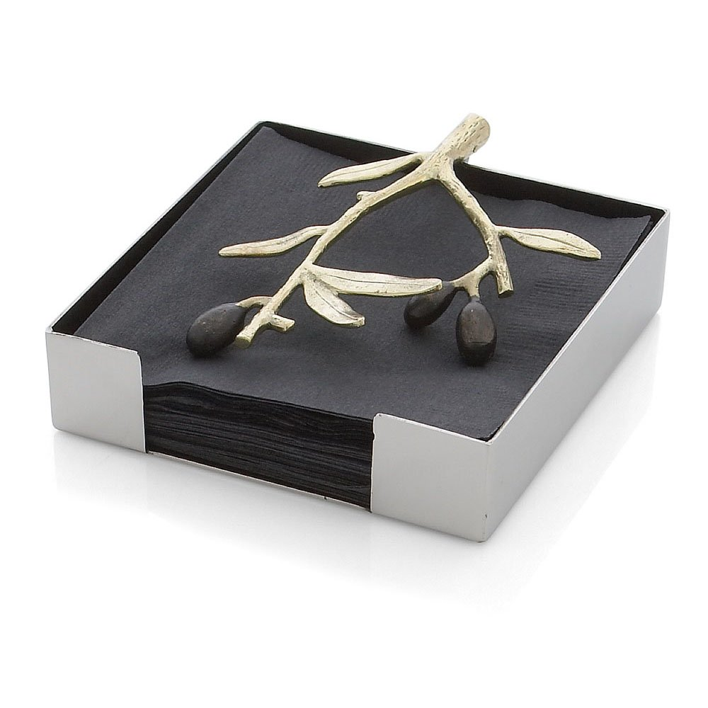 Michael Aram Olive Branch Cocktail Napkin Holder, Gold by Michael Aram