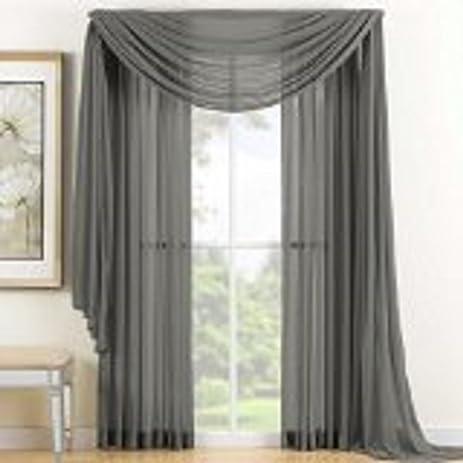 Redbirdlinen 1 Pc Elegant Gray Sheer Scarf Voile Window Treatment Panel Valance Curtain 37 By 216