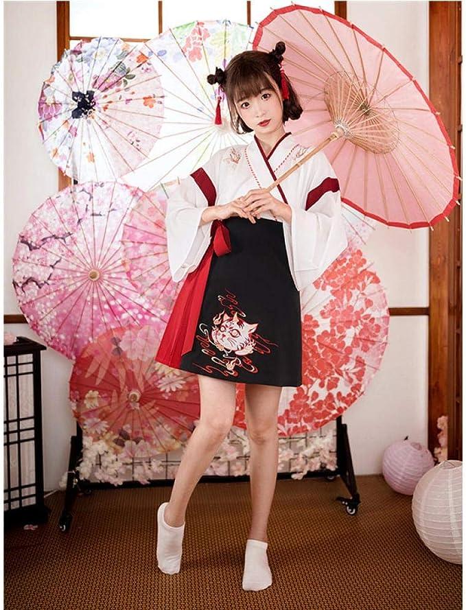 NO BRAND Japonesa Vestido Kimono Mujer Negro Gato Blanco Bordado Dulce Yukata del Partido De Cosplay Haori Ropa Asiática De La Vendimia 2Pieces Set hrloX (Color : White, Size : L): Amazon.es: