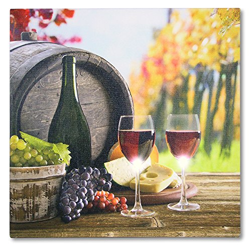 (BANBERRY DESIGNS Wine Decor for Kitchen - LED Canvas Prints - Vineyard Scene with Red Wine and Grapes - Wine Themed Canvas Print - Lighted Wine Pictures)