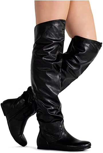 Women s Over The Knee Slouchy Flat Boots Knee High Low Heel Shoes Thigh  High Boots Black 479f87bae