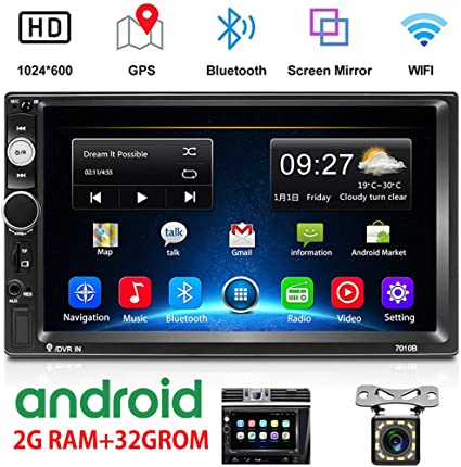 2G Camecho Android Double Din Car Stereo with 7 HD Touch Screen Head Unit GPS FM Bluetooth USB Radio Support iOS//Android Phones Mirror Link 12 LEDs Backup Camera