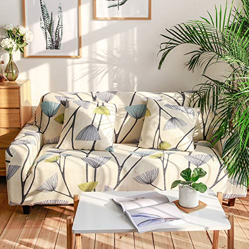 (Ihoming Printed Stretch Sofa Slipcover Loveseat Slipcover Couch Slipcover with 2 Free Pillow Covers, 2/3/4/ Seat Sofa Covers(Loveseat, Dandelion))