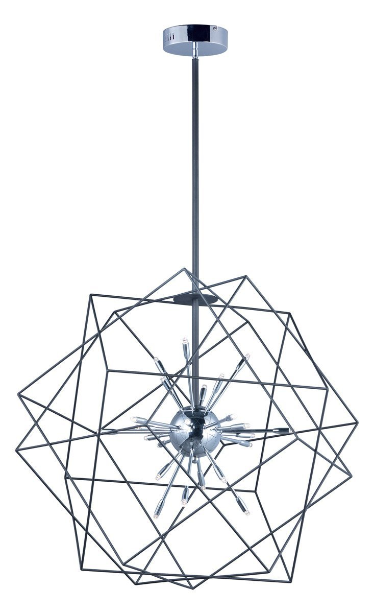 Pendants 24 Light With Black and Polished Chrome Finish Steel Material G4 Bulb 34 inch 28.8 Watts
