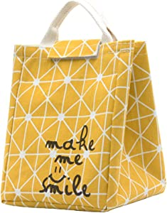 Mziart Reusable Lunch Bag, Foldable Canvas Lunch Tote Travel Bag Lunch Box Holder Bento Cooler Bag for Women Men Adults (Geometric Pattern - Yellow)