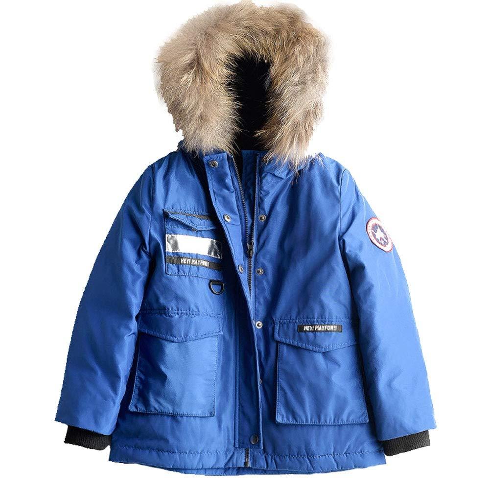 bleu 110cm YZ-HODC Doudoune pour Enfants Hiver Hommes et Femmes Enfants Doudoune épaisse Veste à Capuchon extérieure Coupe
