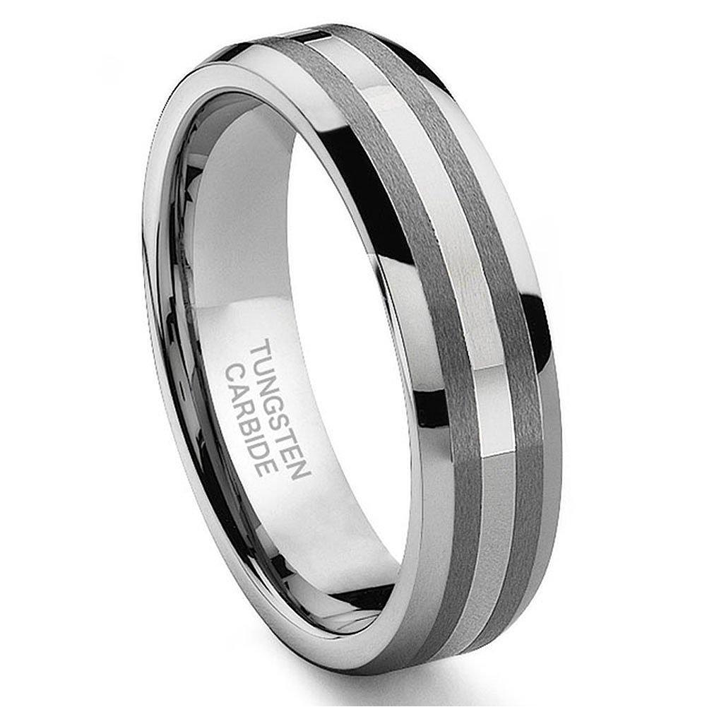 6MM Tungsten Carbide 14K White Gold Inlay Wedding Band Ring Sz 8.0