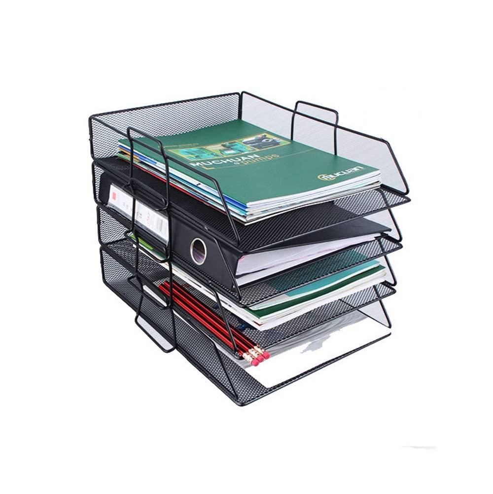 SEVEN LIFE Schwarz/Rosa Desktop-Speicher-Dateihalter 4-Tier Mesh Desk Organizer Tray Brief-Dateihalter (Farbe : Schwarz)