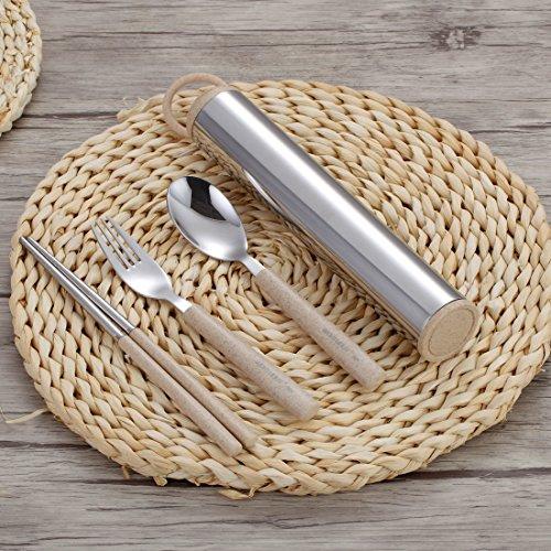 Komost Portable Flatware Set, Stainless Steel Cutlery Set, Travel Utensils Set, Fork Spoon Chopsticks Set with Carrying Case, Bag for Work & Travel by Komost (Image #2)
