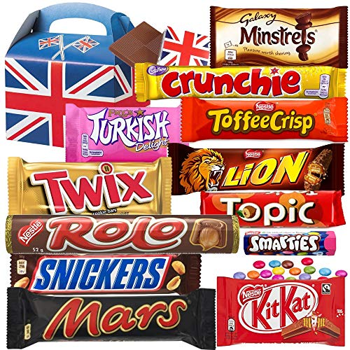 Large Selection Box - British Favourite Chocolate Bar Gift Box - 12 FULL SIZE Chocolate bars of delicious Chocolate candy from the UK with unique Gift Box and a free British Chocolate.