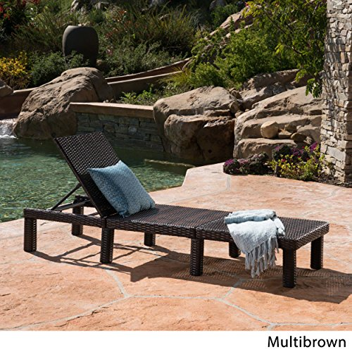 Great Deal Furniture Joyce Outdoor Multibrown Wicker Chaise Lounge without Cushion
