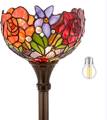 Tiffany Style Floor Lamp Torchiere Up Lighting W10H66 Inch LED Bulb Included Stained Glass Rose Lampshade Antique Standing Iron Base Foot Switch S001 WERFACTORY Lamps Living Room Bedroom Decoration