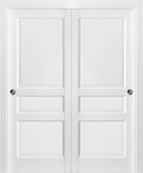 Sliding Closet Bypass Doors 60 X 80 With Hardware Lucia 31 Matte White Sturdy Top Mount Rails Moldings Trims Hardware Set Pantry Kitchen 3 Panels Wooden Solid Bedroom Wardrobe Doors