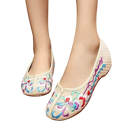online shop temperament shoes meet CINAK Embroidered Shoes for Women Comfort Ballet Flats Casual Slip on Round  Toe Classic Canvas Walking Shoes