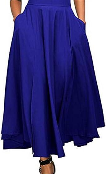 Bohai A-Line - Falda de Forro Polar para Mujer (Cintura Alta, con ...