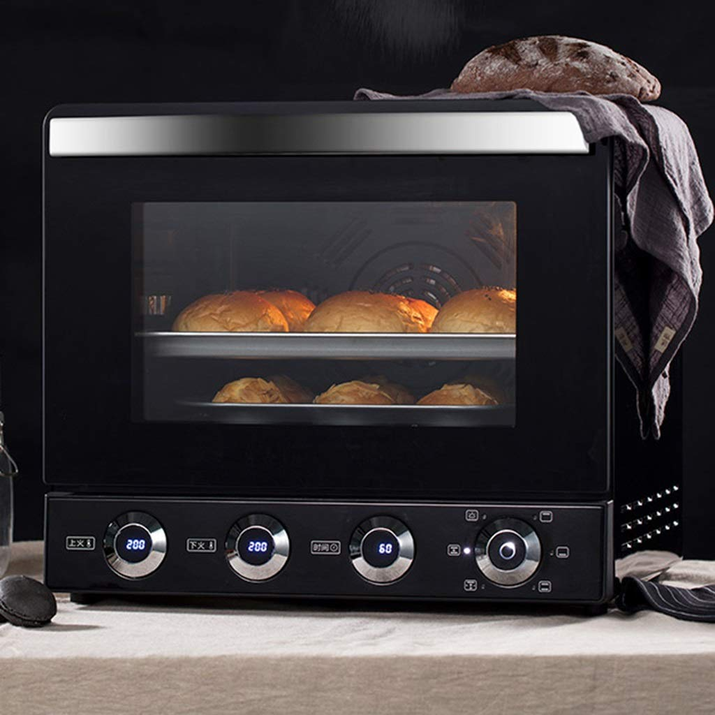 4 Slice Toaster Oven, Baking Sets, LCD Display, Stainless Steel, Broil - Bake Ferment Warm Milk Settings, 2000W, Explosion-proof Door, Grilled Fork Grill, Etc