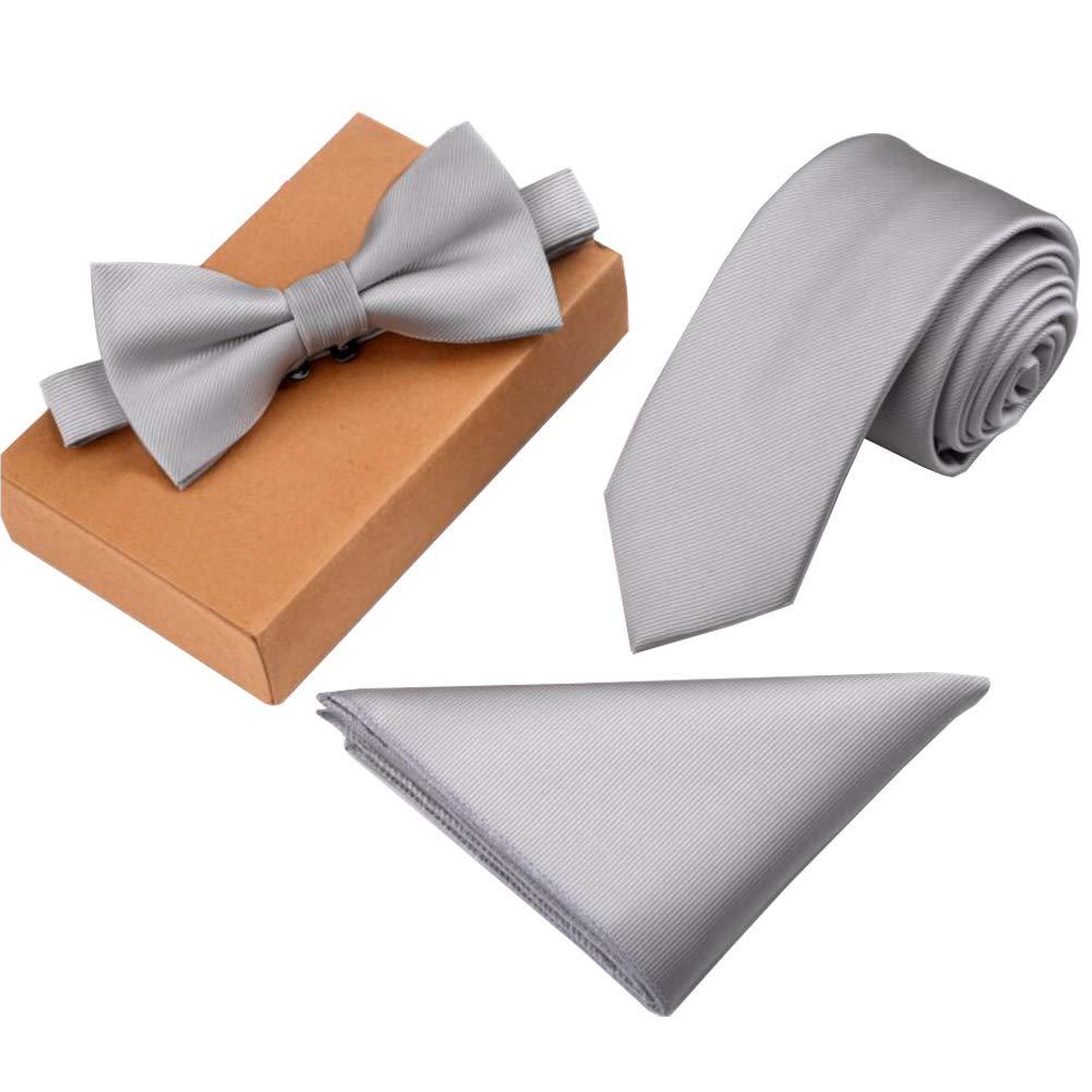 Lanburch Fashionable Premium Formal/Informal Ties Set, Necktie/Bow Tie/Pocket Square for Mens/Boys, Silver