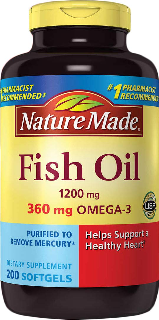 Nature Made Fish Oil 1200 Mg (360 Mg Omega-3) 200 Liquid Softgels by Nature Made