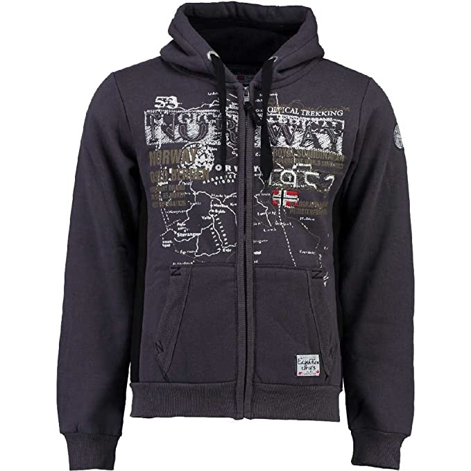 Gris Sudadera Capucha Con Oscuro Norway Para Geographical Hombre On4YSxHY
