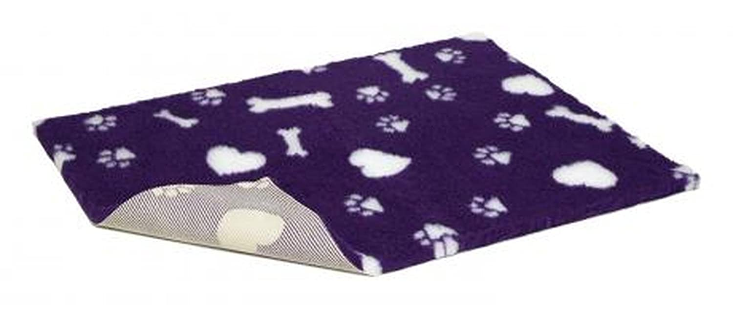 Non Slip Vetbed Purple With White Hearts Bones & Paws 10mtr Half Roll
