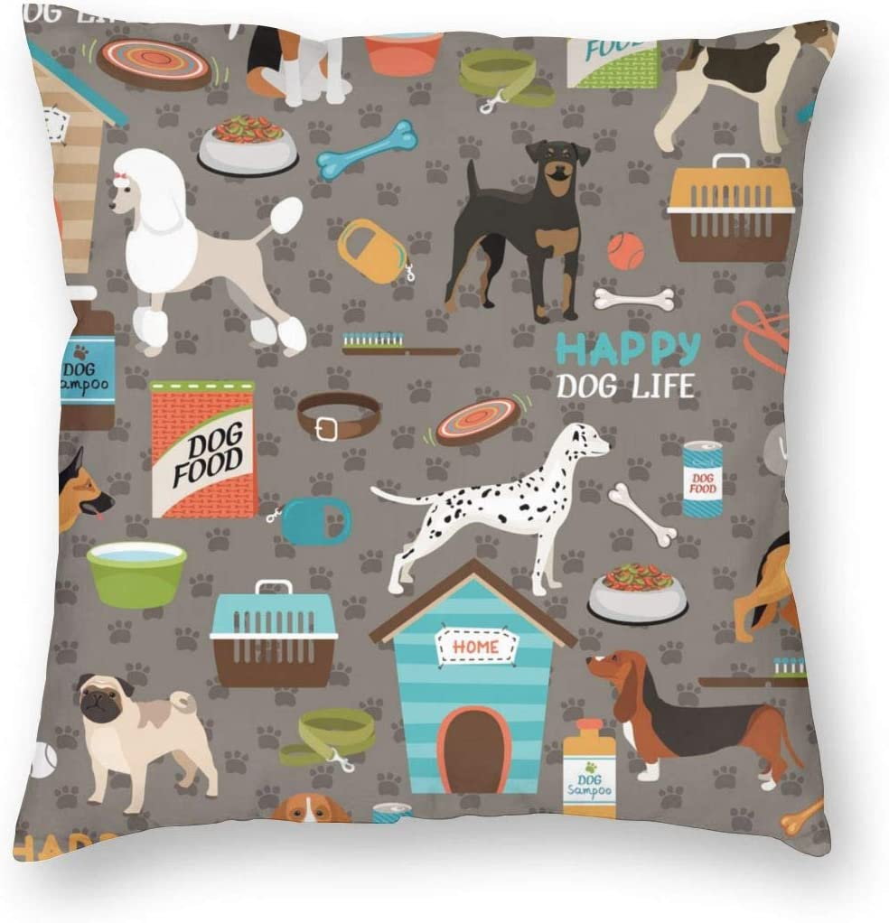 WAZHIJIA Dog House and Dog Food and Puppy Decorative Throw Pillow Covers 18 X 18 Inch,Cartoon Animals Cotton Linen Cushion Cover Square Pillow Cases for Car Sofa Home Decor