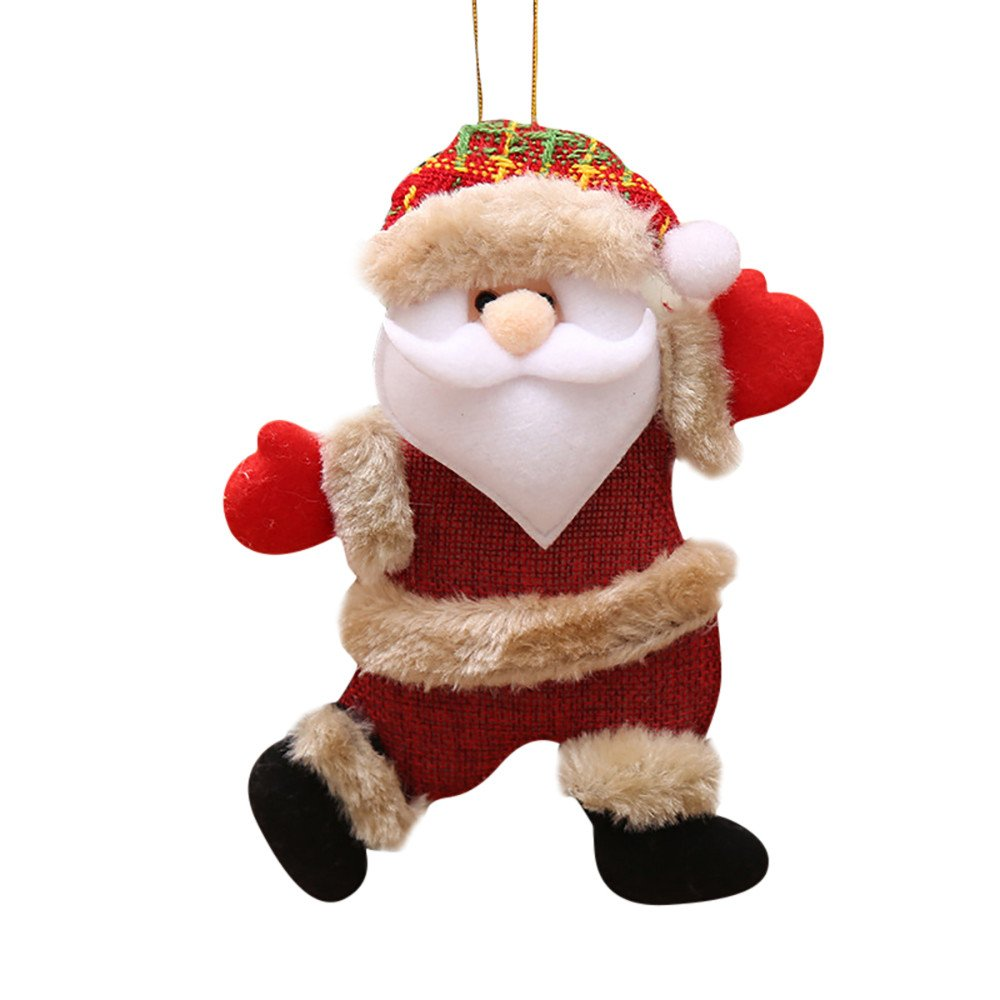 Fabal Christmas Ornaments Gift Santa Claus Toy Doll Hang Decorations Christmas Tree Pendant Decoration (B)