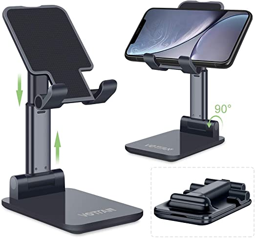 Cell Phone Stand Folding Nonslip Silicone Adjustable Sturdy Metal Phone Holder for Mobile Phone iPad Tablets Black