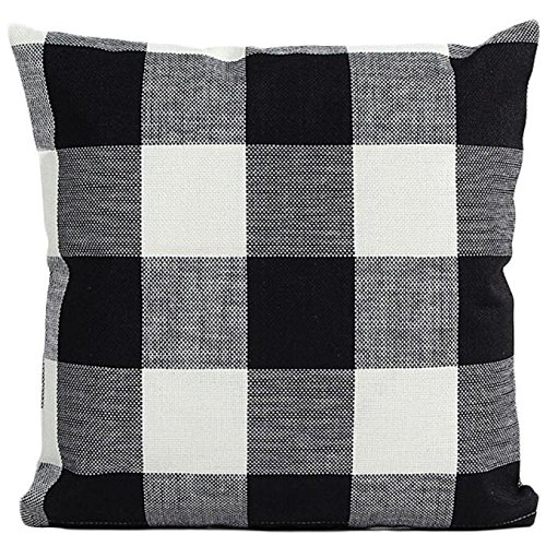Pillowcases Plain (Clearance ! AmyDong Lattice Sofa Bed Home Decor Pillow Case Cushion Cover Plain checked pillowcase clean and tidy Office nap nap pillow car decoration (Black))