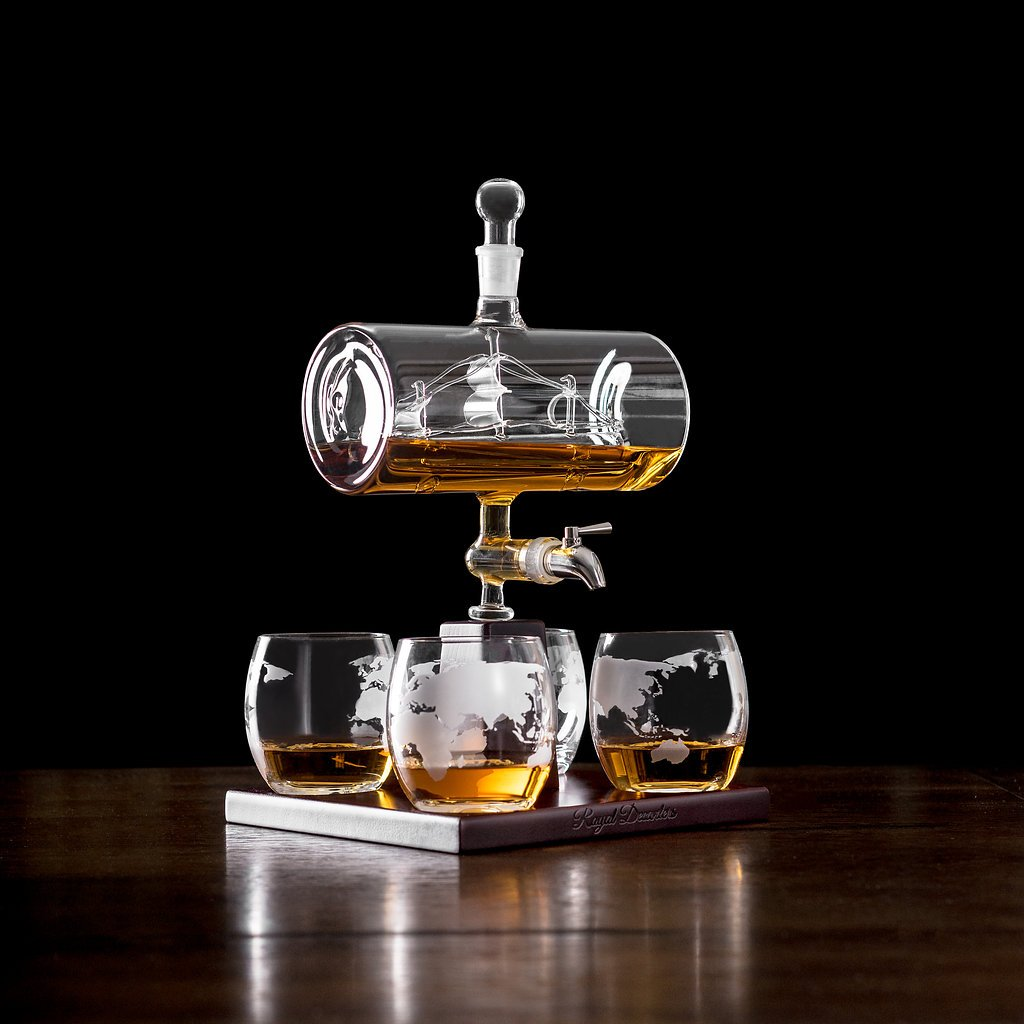 Sailing Ship Whiskey Decanter - Makes a Great Gift! Stainless Steel Spigot Liquor Dispenser - 4 Etched World Map Glasses - for Brandy Tequila Bourbon Scotch Rum -Alcohol Related Gifts for Dad (1000ML) by Royal Decanters (Image #2)