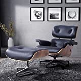 RECLINER GENIUS 100% Grain Italian Leather Recliner Lounge Chair with Ottoman (black)