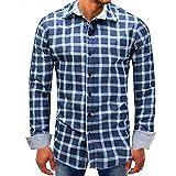 Men shirts Clearance WEUIE Men Lattice Denim Long-Sleeve Beefy Button Basic Solid Blouse Tee Shirt Top (L, Blue)
