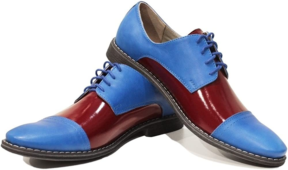 Modello Flippo Cowhide Smooth Leather Lace-Up Handmade Italian Mens Color Blue Oxfords Dress Shoes
